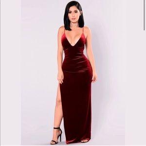 Fashion Nova S M velvet high slit backless dress